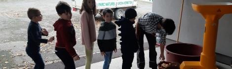Activité pressage de pommes - école de Sautour